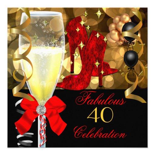 40 & Fabulous Red Black Gold Birthday Party Custom Invitations