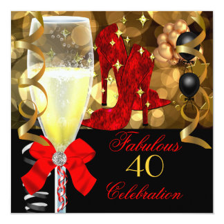 40 & Fabulous Red Black Gold Birthday Party 5.25x5.25 Square Paper Invitation Card
