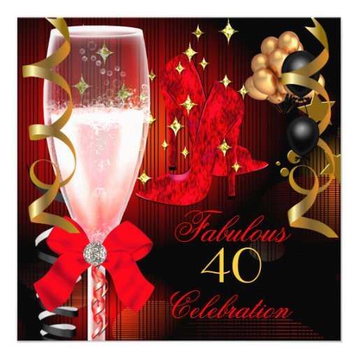 40 & Fabulous Red Black Gold Birthday Shoes Invitation