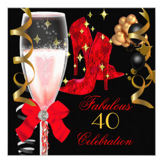 40 & Fabulous Red Black Gold Birthday Shoes Personalized Announcements