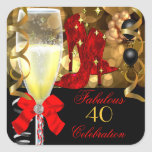 40 & Fabulous Red Black Gold Birthday Shoes Square Sticker