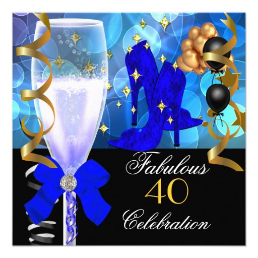 40 & Fabulous Royal Blue Black Gold Birthday Party Custom Announcement