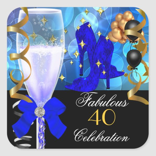 40 & Fabulous Royal Blue Black Gold Birthday Party Square Stickers