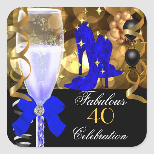 40 & Fabulous Royal Blue Black Gold Birthday Party Stickers