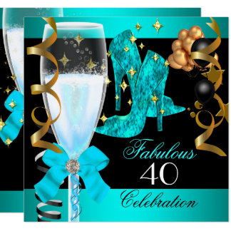 40 Fabulous Teal Blue Gold 40th Birthday Party Card