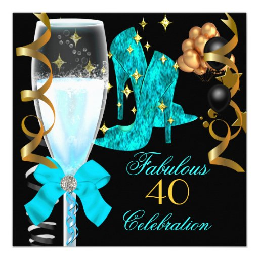 40 & Fabulous Teal Blue Gold Birthday Shoes Announcements