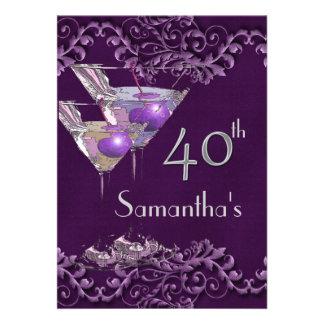 40 fortieth elegant vintage purple personalized invites
