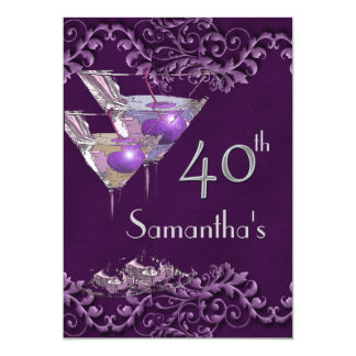 40 fortieth elegant vintage purple 13 cm x 18 cm invitation card