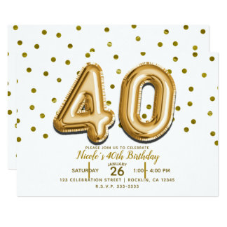 40 Gold Balloons & Confetti 40th Birthday Party Card