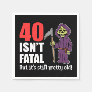 40 Isn't Fatal But Still Old Grim Reaper Cartoon Disposable Serviette