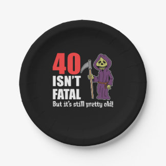 40 Isn't Fatal But Still Old Grim Reaper Cartoon Paper Plate