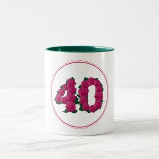 40 Number 40th Birthday Anniversary cute pink mug