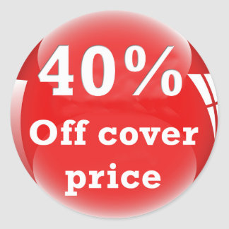 40% Off (Percent) Cover Price Round Glossy Sticker
