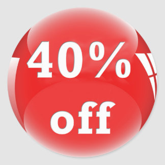 40% Off (Percent) Round Glossy Sticker