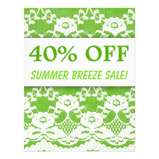 40 OFF Sale Flyer Green White Lace Bold