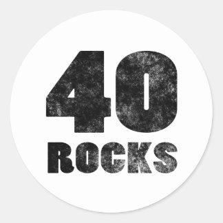 40 Rocks Round Sticker
