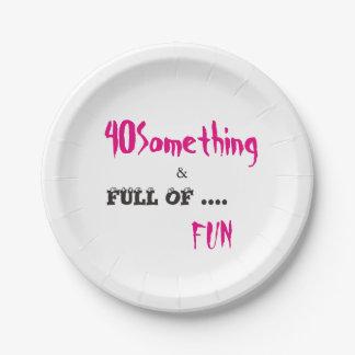 40 Something Celebration Party Paper Plates