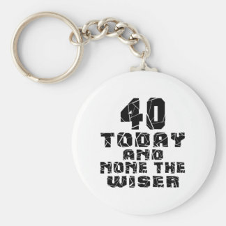 40 Today And None The Wiser Basic Round Button Key Ring