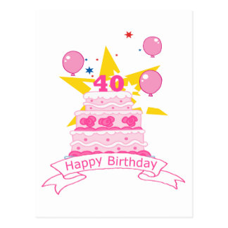40 Year Old Birthday Cake Postcard