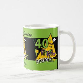 40 Year Old Party Animal   40th Birthday Basic White Mug