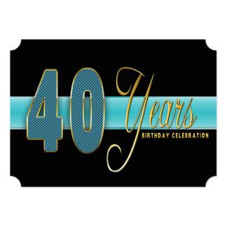 "40 YEARS BIRTHDAY PARTY INVITATION AQUA/BLACK 5"" X 7"" INVITATION CARD"