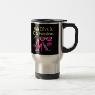 40 YEARS OLD AND A FABULOUS DIVA TRAVEL MUG