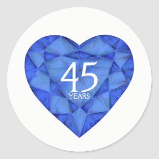 40 years sapphire heart watercolor art stickers