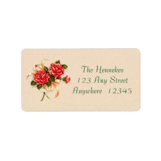 40s Pink Roses Label