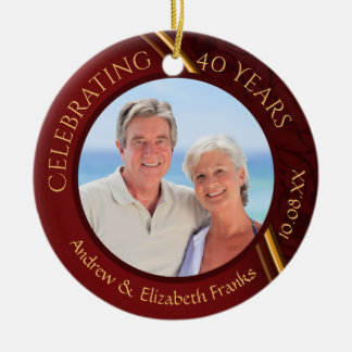 40th Anniversary, 2-Sided, 2-Photo, Ruby & Gold Ceramic Ornament