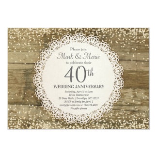40th Anniversary Invitation Rustic Wedding Silver