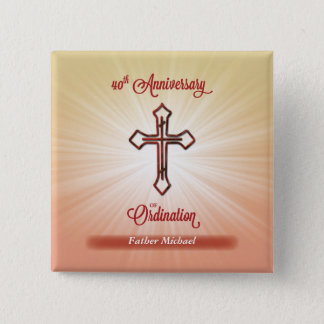 40th Anniversary of Ordination, Square Gift 15 Cm Square Badge
