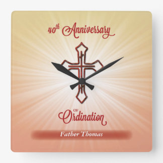 40th Anniversary of Ordination, Square Gift Wall Clocks