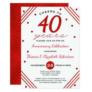 40th Anniversary Party Invitation, Ruby Card