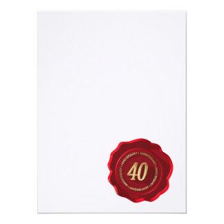40th anniversary red wax seal custom announcements