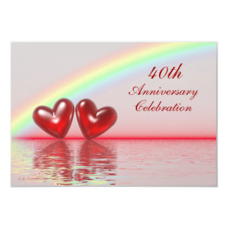 40th Anniversary Ruby Hearts 9 Cm X 13 Cm Invitation Card