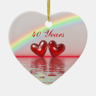 40th Anniversary Ruby Hearts Ceramic Heart Decoration