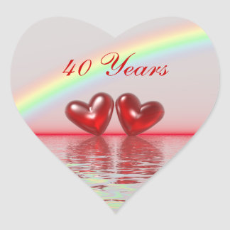 40th Anniversary Ruby Hearts Heart Sticker