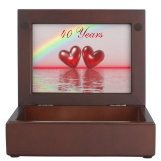 40th Anniversary Ruby Hearts Keepsake Box