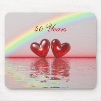 40th Anniversary Ruby Hearts Mouse Pad