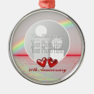 40th Anniversary Ruby Hearts (photo frame) Metal Ornament