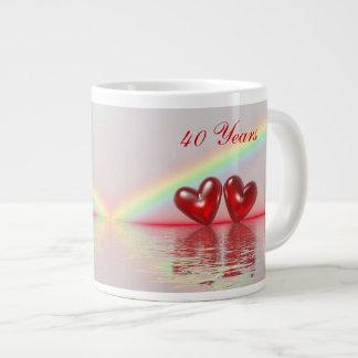 40th Anniversary Ruby Hearts Extra Large Mug