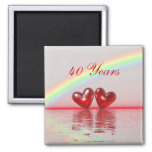 40th Anniversary Ruby Hearts Square Magnet