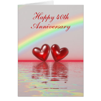 40th Anniversary Ruby Hearts (Tall) Card