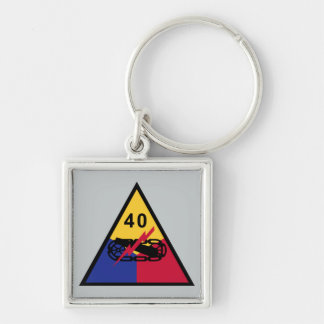 40th Armored Division Silver-Colored Square Key Ring