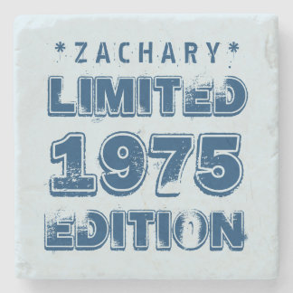 40th Birthday 1975 Limited Edition Custom E03 BLUE Stone Coaster