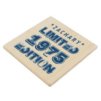 40th Birthday 1975 Limited Edition Custom E05 BLUE Maple Wood Coaster