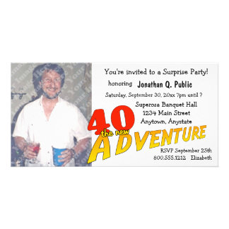 40th Birthday Adventure Party Photo Invitation Photo Card Template