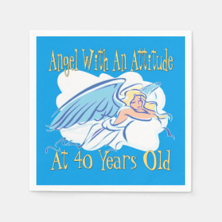 40th Birthday Angel With An Attitude Paper Napkin