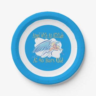 40th Birthday Angel With An Attitude Paper Plate