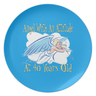 40th Birthday Angel With An Attitude Plate